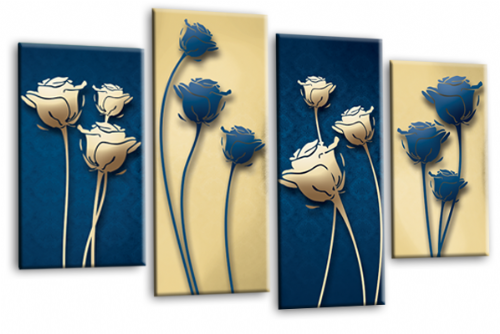Abstract Floral Flower Canvas Wall Art Picture Print Cream Blue